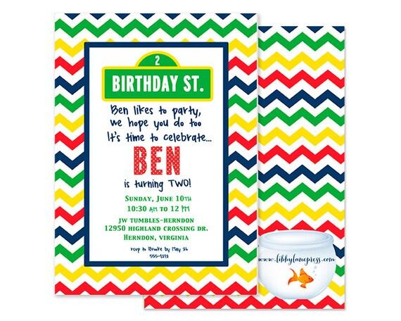SESAME STREET Inspired Birthday Invitation, Digital or Printed Invitation