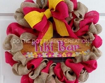 Natural, Hot pink & Yellow Burlap Luau Tiki Bar Wreath