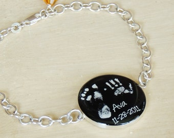 Baby Footprint Bracelet - Mother's Bracelet - Mother's Day - New Mom - Baby Memorial Jewelry - Infant Loss - Footprint Jewlery