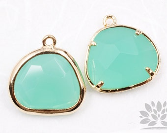 F119-02-G-MT// Gold Framed Mint Glass Stone Pendant, 2Pcs