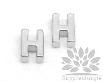 """IP002-MR-H// Matt Original Rhodium Plated Simple Initial """"H"""" Pendant, 2 pcs"""