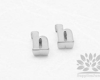"""IP003-MR-H// Matt Original Rhodium Plated Simple Lower Case Initial """"h"""" Pendant, 2 pcs"""