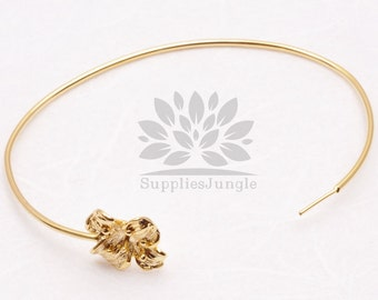 A325-01-G// Gold Plated Flower Bangle Bracelet, 1 pc
