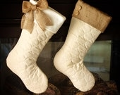 Quilted Stockings with Burlap Accents - Set of Two (2)