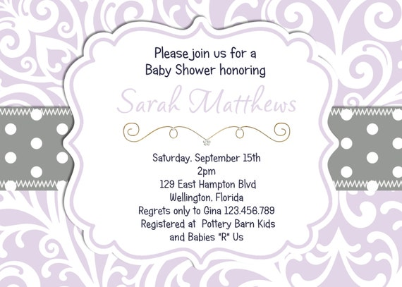 Lavender Damask Baby Shower Invitation Dots and Damask Gray and Lavender  Printable Custom Invite