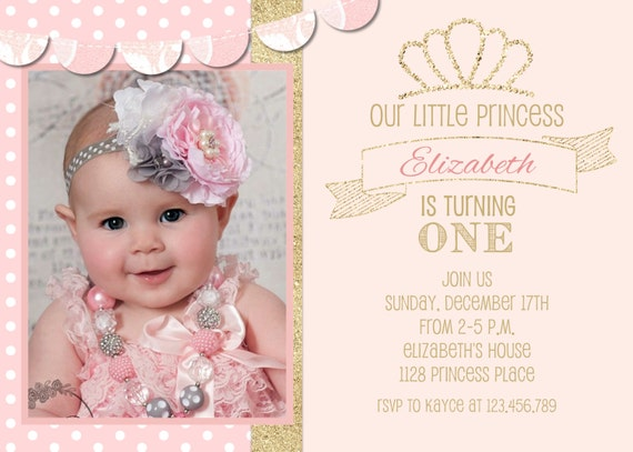 Blush Pink and Gold Glitter Birthday Party Invitation - Sweet 16 or First Birthday Invite