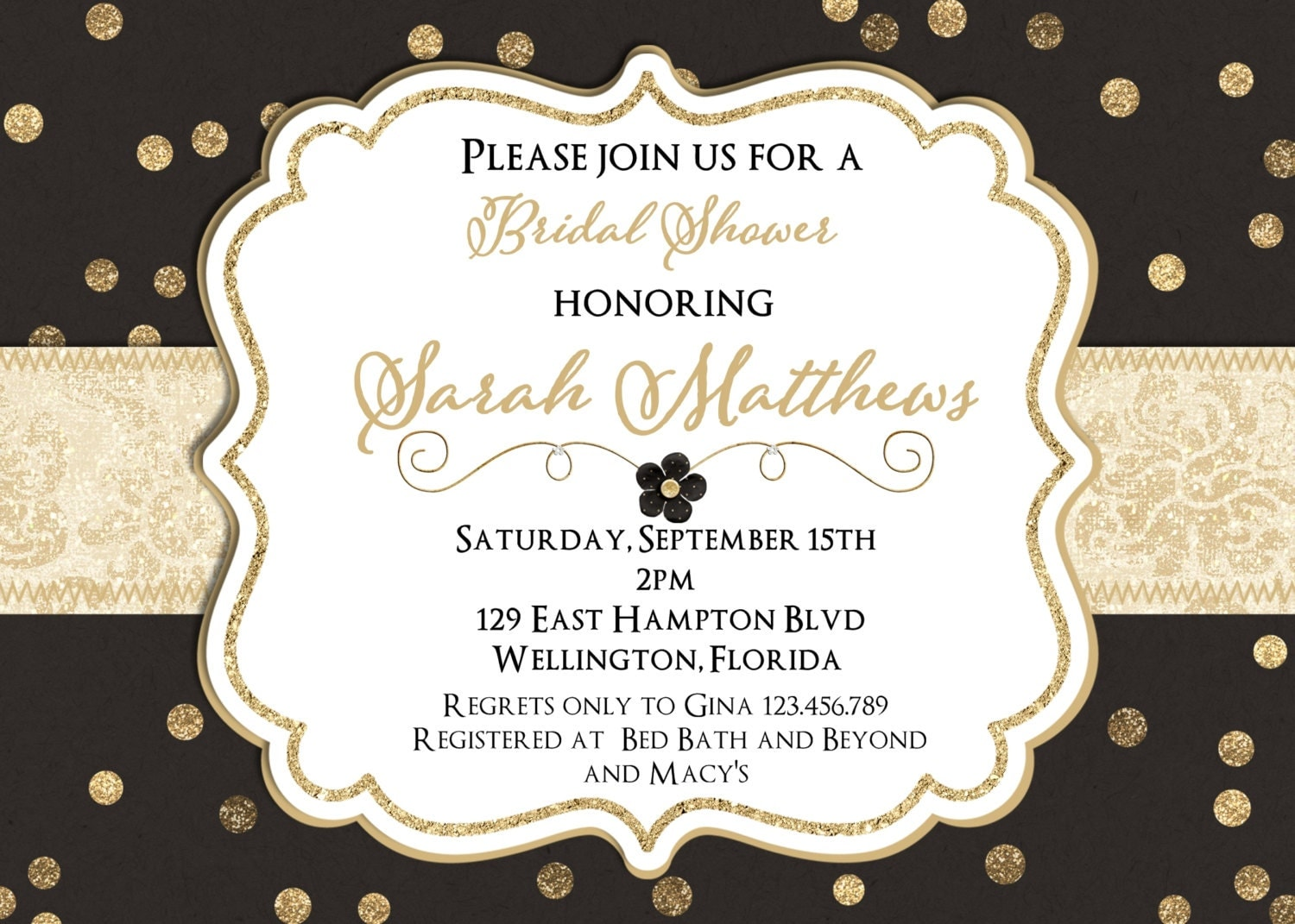 Black and gold glitter wedding shower invitation by for Black and gold wedding shower invitations