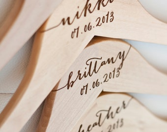3 - Personalized Bridesmaid Hangers - Engraved Wood