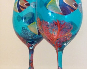 Hawaiian Humu Humu fish hand-painted wineglasses - set of 2