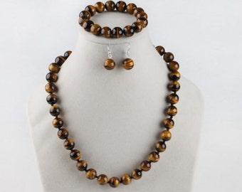 jewelry set- 10 mm tiger eye stone necklace stretch bracelet & earrings set