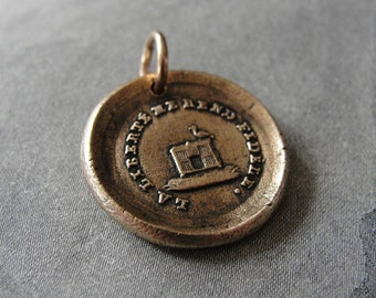 Freedom Makes Me Faithful - wax seal charm with bird cage - bronze wax seal jewelry