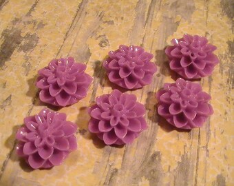 6pcs Floarl Cabachon Resin Acrylic Flat Back Focal Embellishment Lilac Jewelry Supplies Commercial Supplies Shabby Chic Scrapbooking