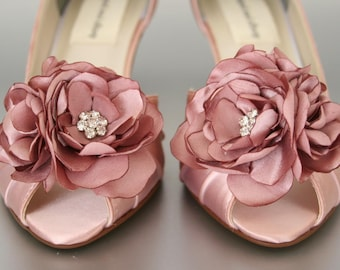 Wedding Shoes -- Antique Pink Wedding Shoes with Matching Flower Adornment