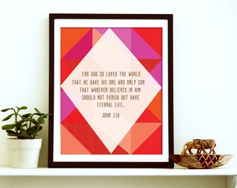 For God So Loved The World, John 3:16, Christian Printable, Thanksgiving printable, Scripture Printable, Bible Quote Art, Bible Wall Wart