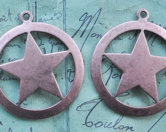 FOUR Brass Star in circle charms, Rose Ox