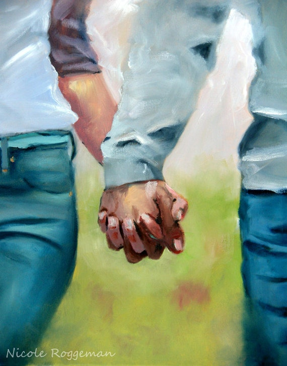 Holding Hands, clasped hands, romantic gift idea Nicole Roggeman print original artwork 11x14 romance love, couples hands, young love
