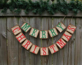 Merry Christmas Banner,  Burlap Christmas Banner,  Red And Green Christmas Mantle Decor,  Red And Green Christmas Banner,  Rustic Christmas