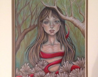 Red Ribbon Girl - Framed Original Drawing