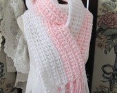 SALE  OOAK Soft, warm and cozy Handmade Crocheted Ladies Scarf, Pink October, ECS,