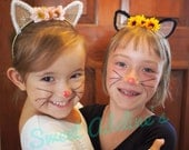 Black or White Gold Kitty Princess Cat Ears with Pink or Sunflower Floral Crown and Posable Tail