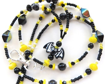 BATMAN- Beaded ID Lanyard Badge Holder- Czech Glass Beads and Crystals, Pearls, & Silver Beads (Magnetic Clasp)