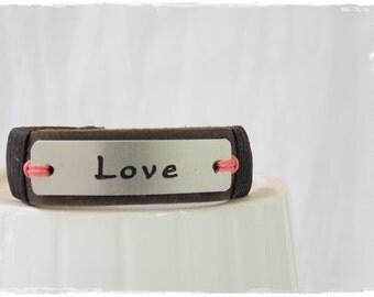 Personalized Bracelet, Custom Name Bracelet, Identity Tag Bracelet, Engraved Bracelet Cuff, Customized Leather Bracelet, ID Leather Bracelet