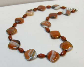 Orange & White Brazilian Agate with Red Jasper Necklace // Gemstone Bead Jewelry