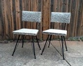 RESERVED for DIANE DOTY Set of Two Little Black Metal and Upholstery Chairs