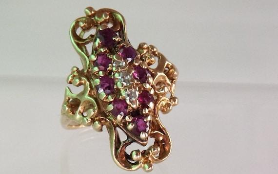 Antique Rare Late 1800's Ruby Diamond Filigree Ring