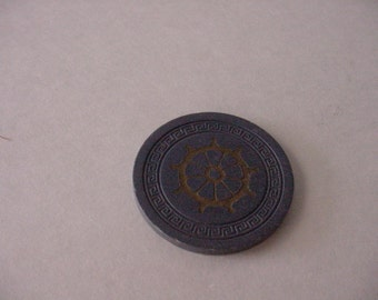 Rare 1940s Harvey's Casino Lake Tahoe Obsolete Blue Clay Pilot Wheel Poker Roulette Table Game Chip