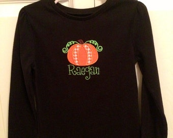 Personalized pumpkin applique shirt