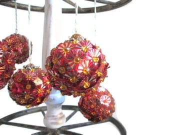 Christmas Ball Ornaments Retro Tree Decorations Red Sequins