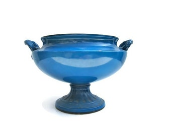 Bowl Urn Blue Pedastal Teal Crown Ducal Ware England
