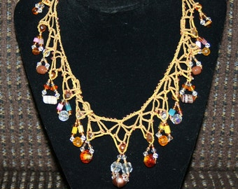 Gold Necklace Silk Fabric Beads