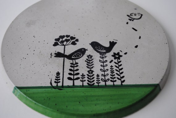 Concrete Wall Trivet--Bird on Flower