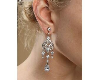 Opulent chandelier bridal earrings
