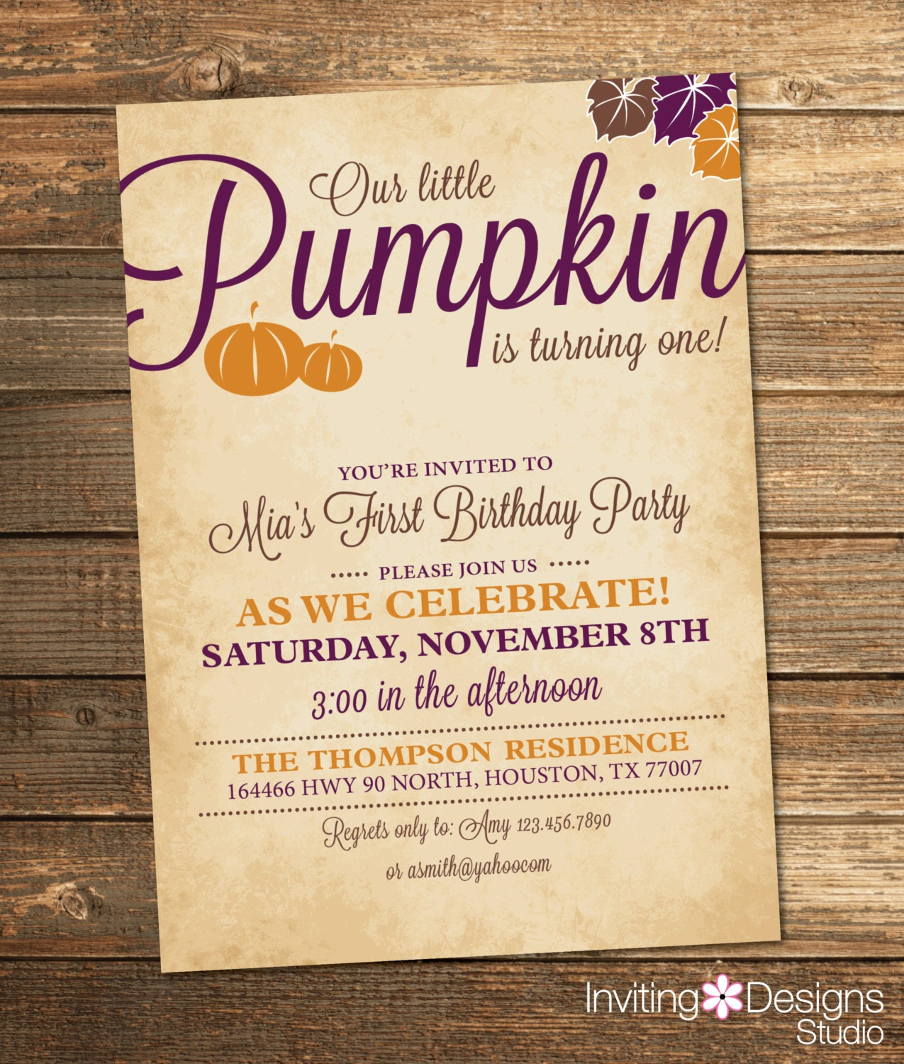 Little Pumpkin Birthday Invitation Fall By