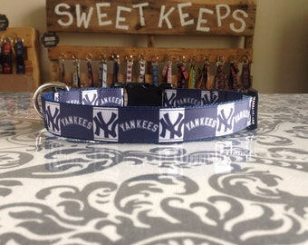 Dog Collar Made from New York Yankees Inspired Ribbon