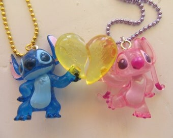 Heart Necklaces, Stitch and Angel Necklaces, His and Hers, Disney Necklace, Valentines Gift,  I Love You, BFF