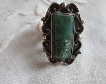 Rare, Unusual MEXICAN CARVED JADE Deco Era Ring, Elongated Mask Marked Sterling