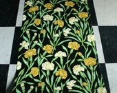 Vintage 1970s wallpaper- Yellow Carnations on Black- by the yard