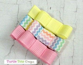 Baby Hair Clips - Chevron Pastel- Tuxedo Bow Alligator Hair Clip Set - Baby, Girl, Toddler, Children