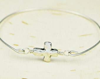 Cross Bangle Bracelet-  Silver Plated Cross and Sterling Silver Filled Wire Wrapped Bracelet- Custom Made to Size