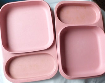 VINTAGE TUPPERWARE TRAYS, pink plastic, snap on lids, institution food tray, retro container storage