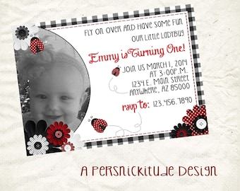 ladybugs birthday invitation printable file