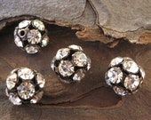10mm Oxidized Brass Crystal Preciosa Rhinestone Ball Beads (4)