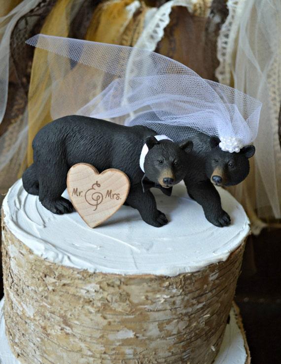 Black Bear Wedding Cake Topper Hunting