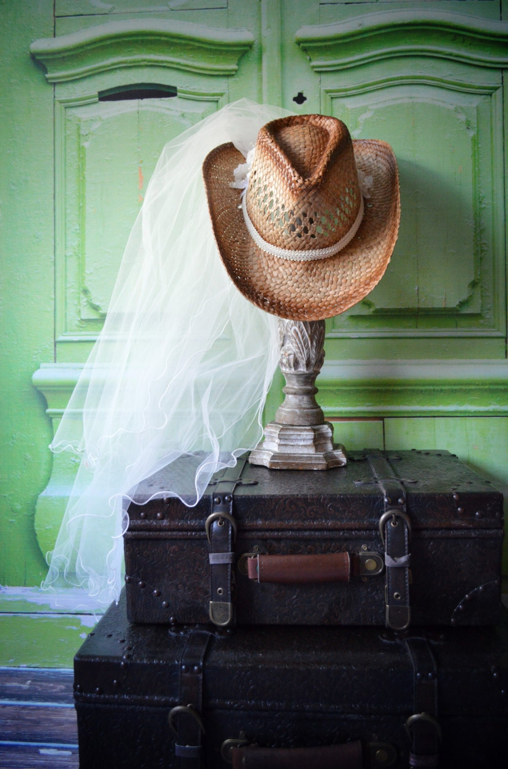 Western Wedding Veil Ivory White Hat Cowgirl Cowboy Boots