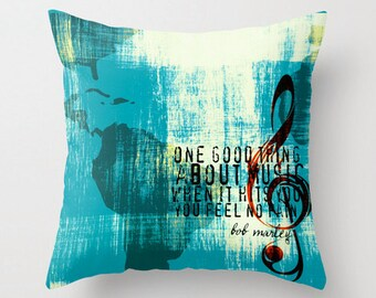 Bob Marley One Good Thing About Music Throw Pillow Square Nautical Music Reggae Home Decor