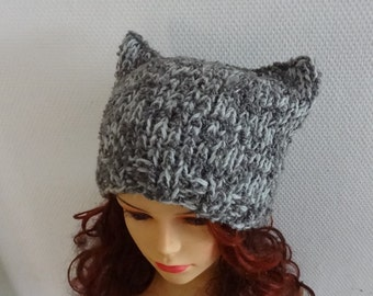 Cat Ears Hat Cat Beaie Chunky Knit Winter Accessories Animals Hat  cat ears hat  street beanie hat womens hats mens knit hats warm beanie